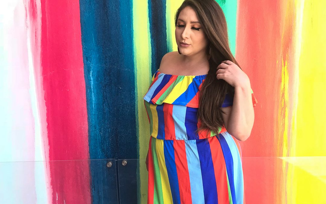 ASOS Off the Shoulder Colorful Striped Dress