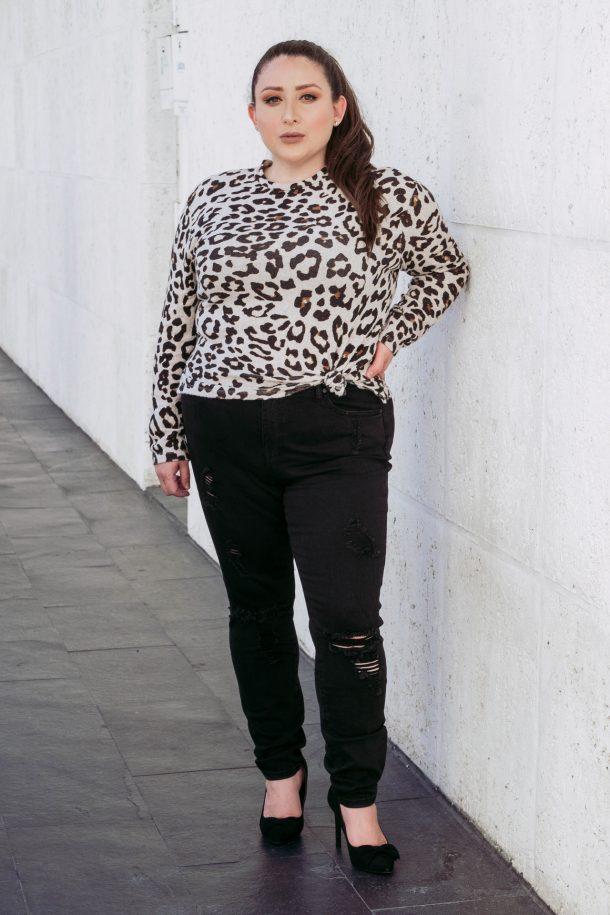 Leopard Sweater + Eloquii Black Jeans