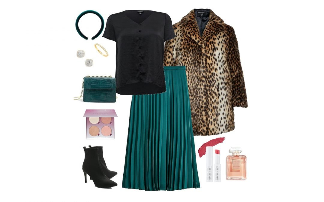 Emerald Pleated Skirt with Leopard Coat and Boots