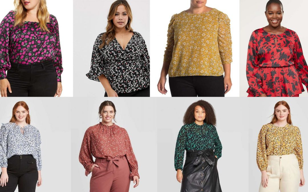 Plus Size Floral Long Sleeve Blouses