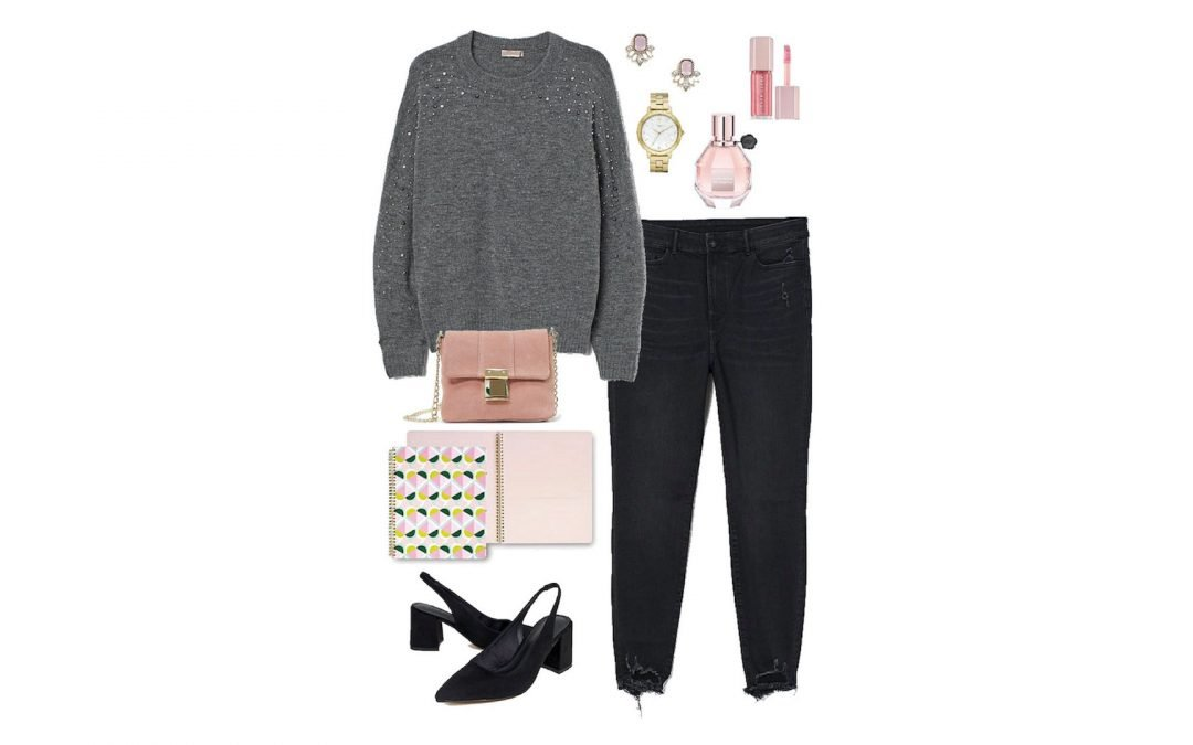 Gray Sweater with Black Jeans Plus Pink and Gold Accessories