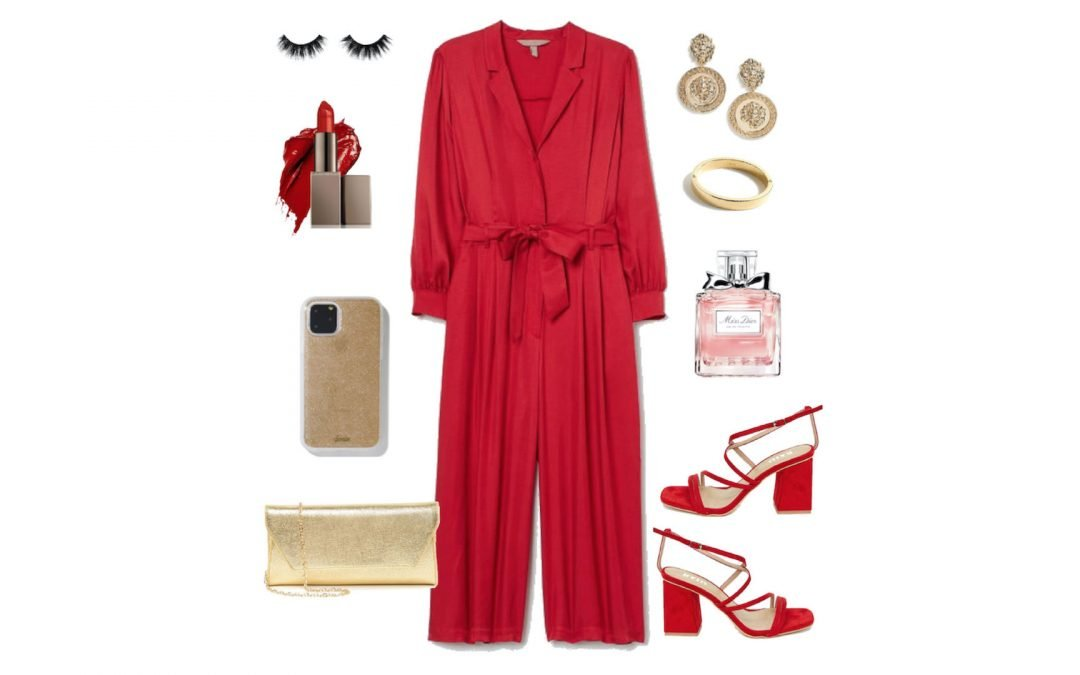 Plus Size Red Jumpsuit with Gold Accessories