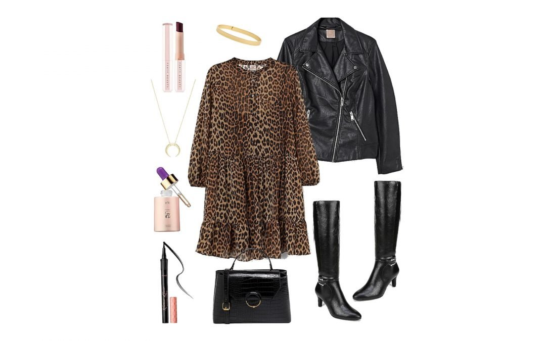 Leopard Dress with Faux Leather Jacket and Knee High Boots