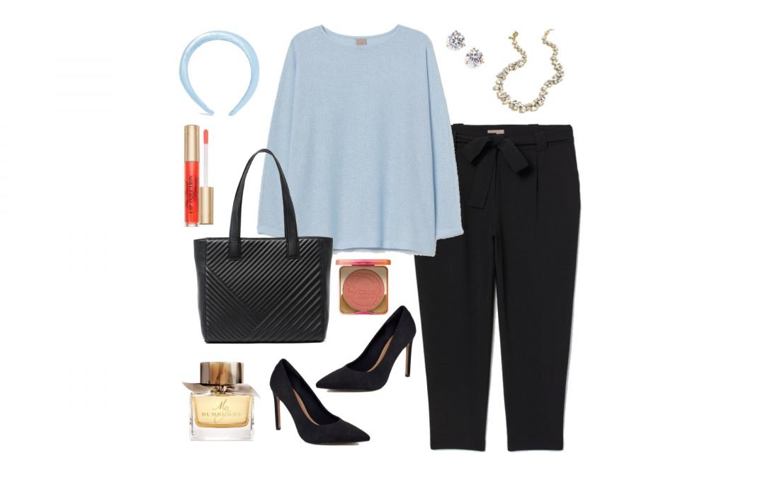 Light Blue Sweater and Black Slacks with Pumps